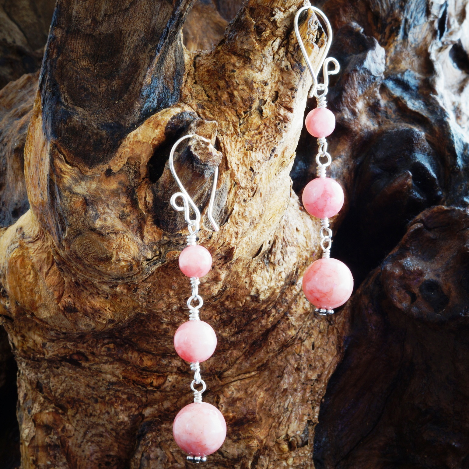 Handmade Triple Rhodochrosite Sterling Silver earrings