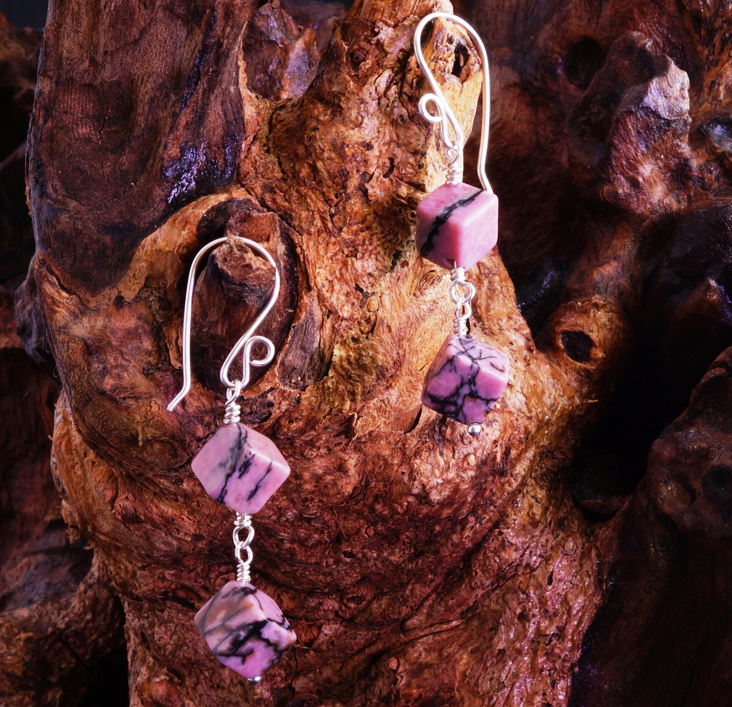 Handmade Sterling Silver Rhodonite Earrings