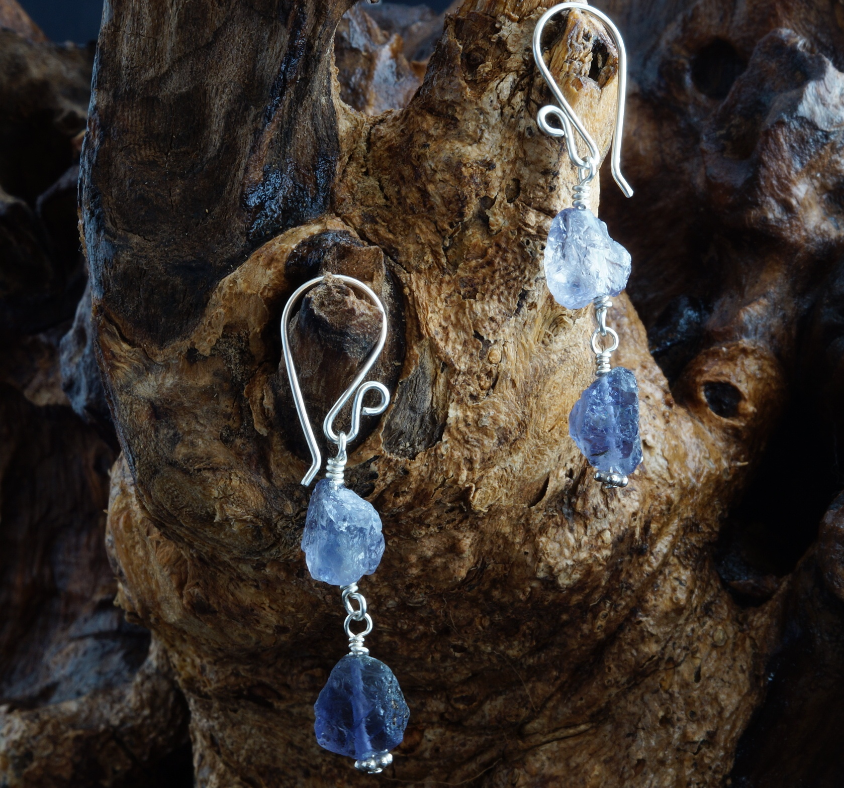 Handmade Sterling Silver Raw Iolite Earrings