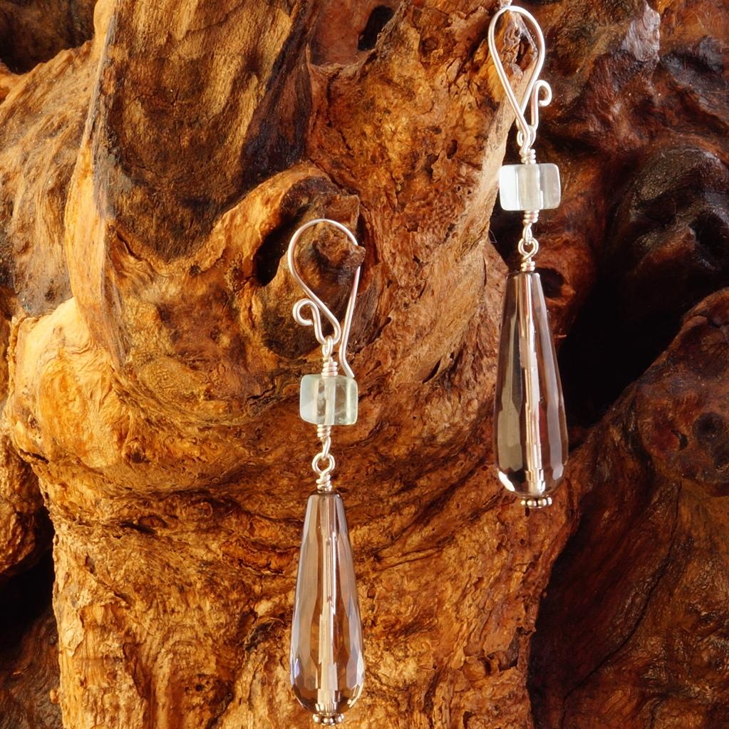 Handmade Sterling Silver Green Fluorite Smokey Quartz Earrings
