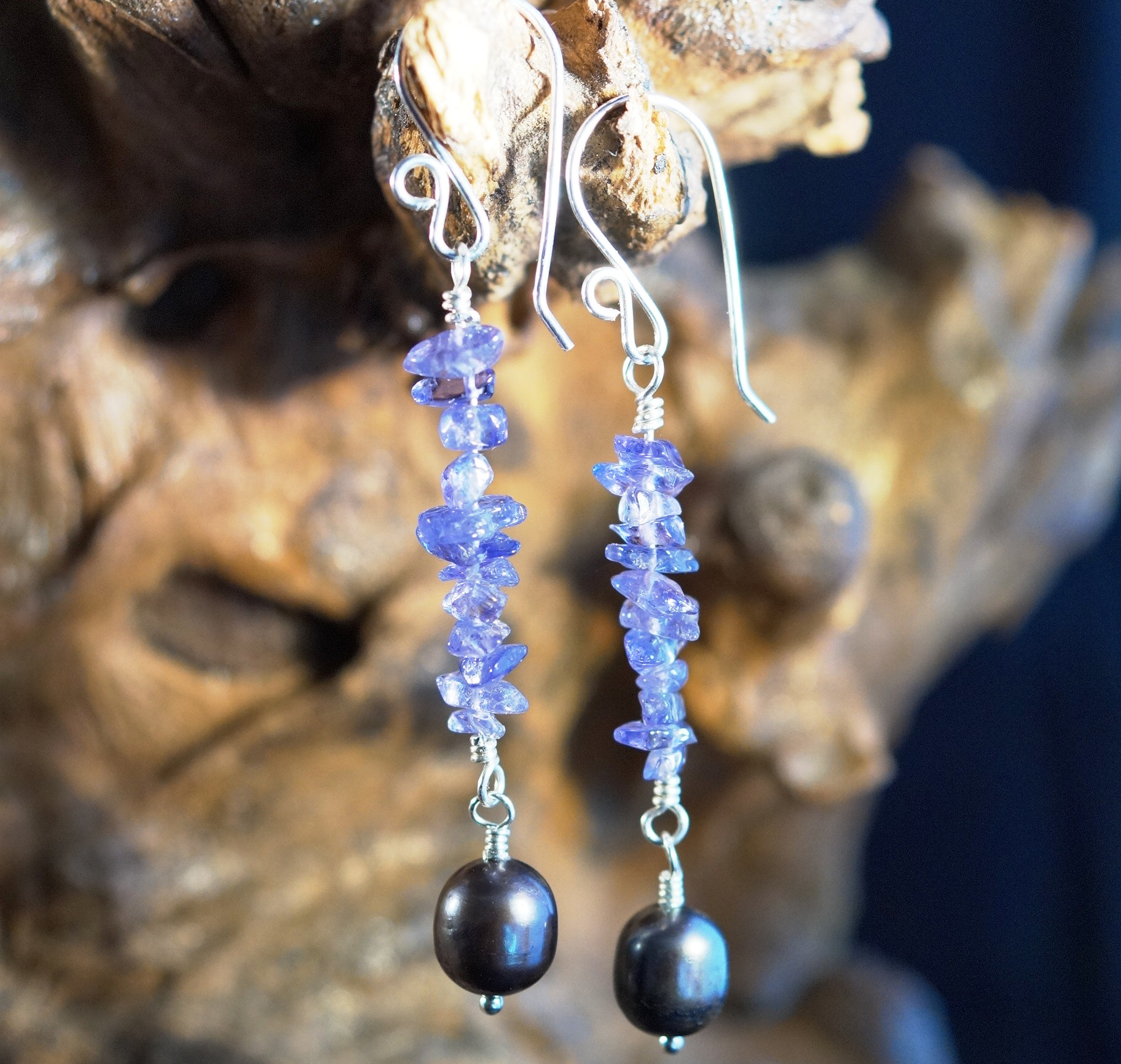 Handmade Sterling Silver Tanzanite Freshwater Pearl Earrings