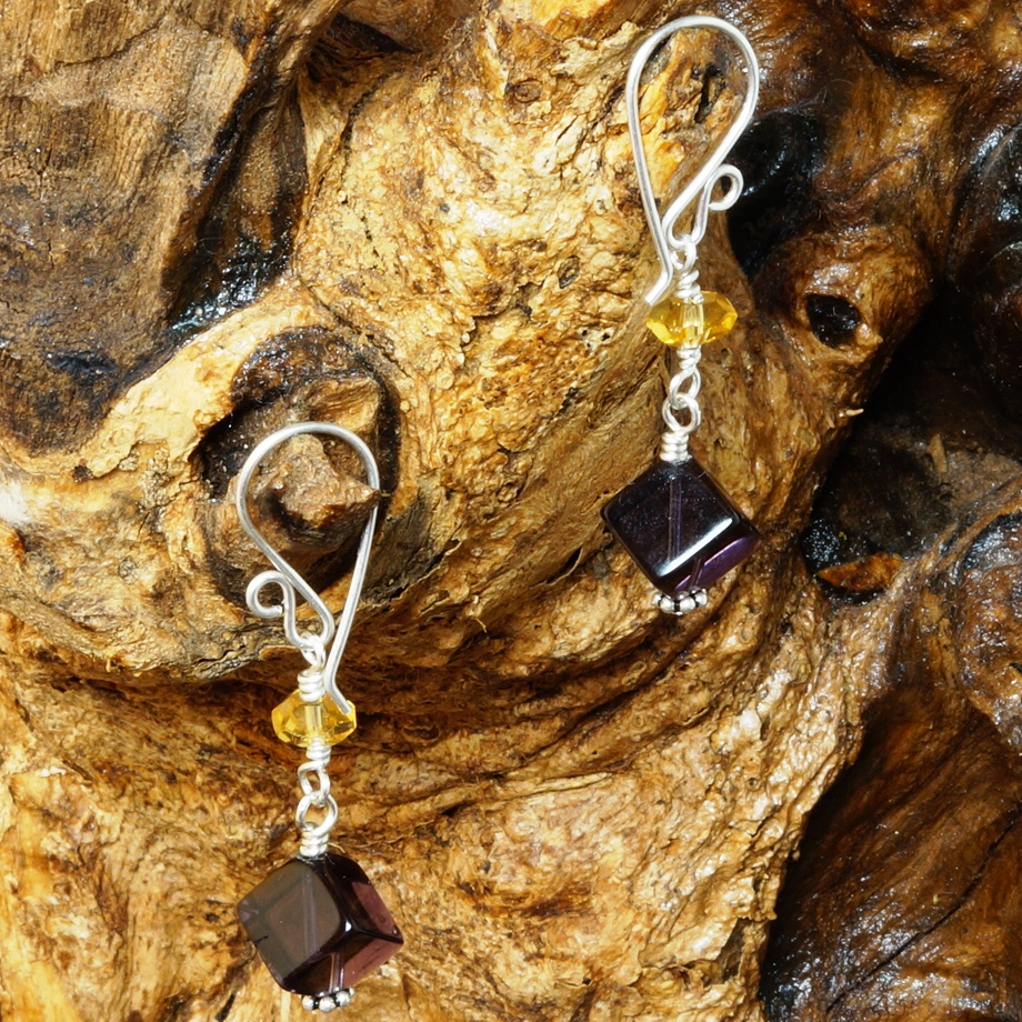 Handmade Sterling Silver Amethyst Citrine Earrings