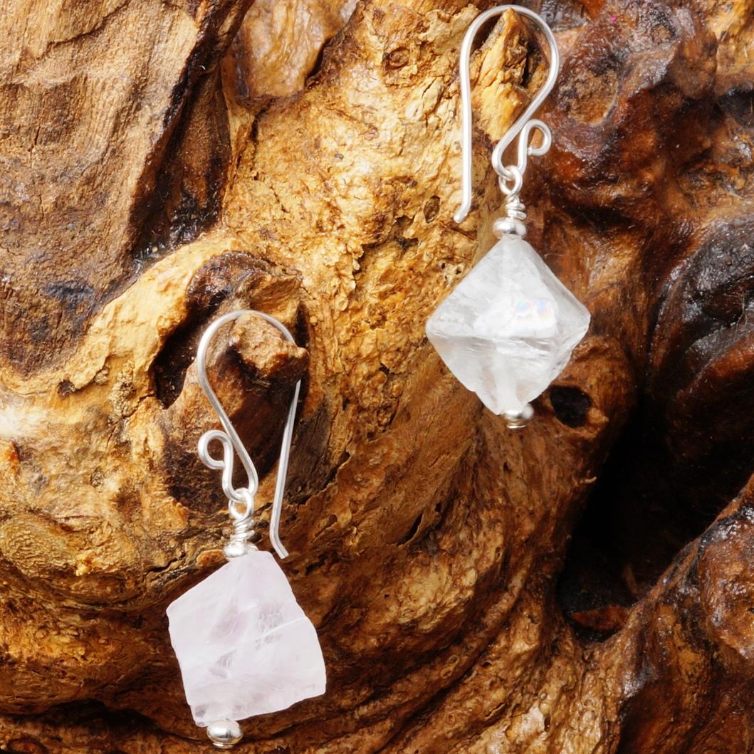 Handmade Sterling Silver Purple Green Asymmetric Fluorite Earrings 01