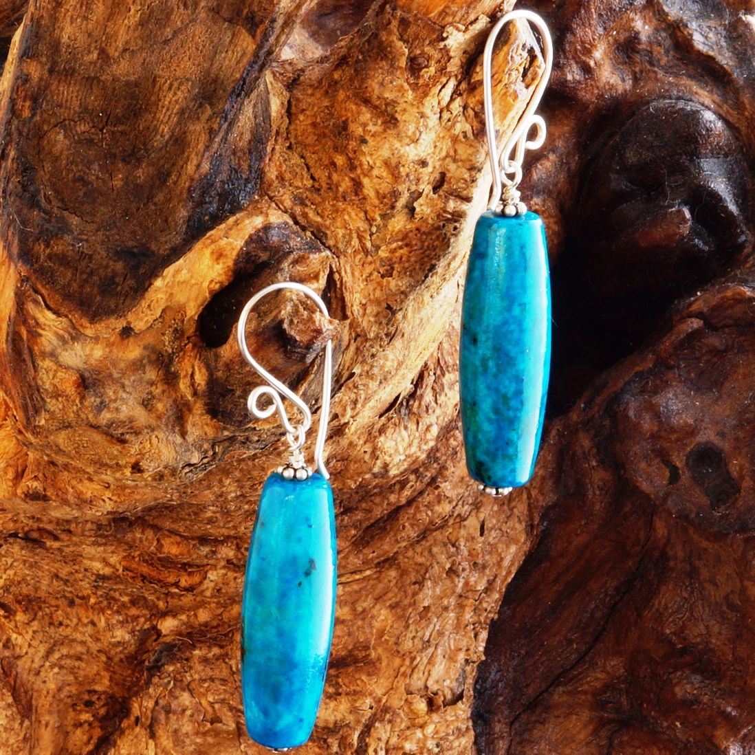 Handmade Sterling Silver Chrysocolla Drum Earrings