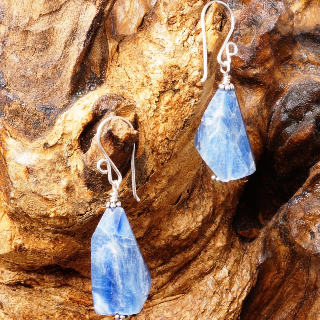 Handmade Sterling Silver Kyanite Slab Earrings 01