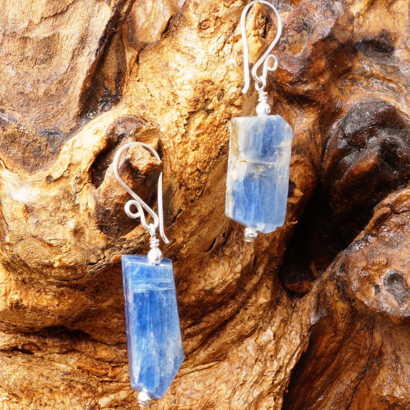 Handmade Sterling Silver Kyanite Slab Earrings 02