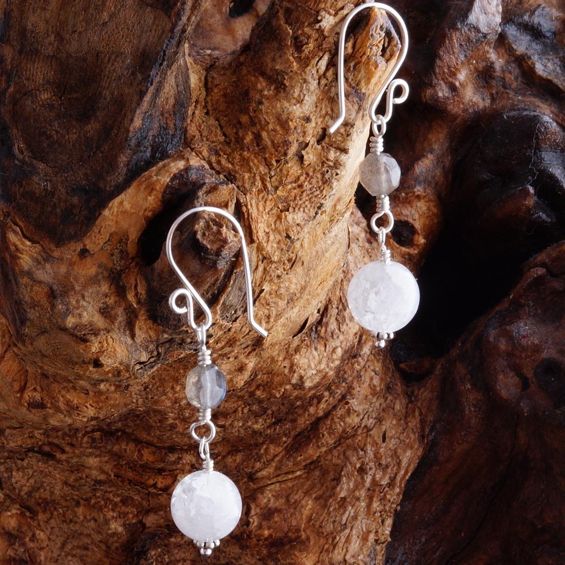 Handmade Sterling SilverLabradorite Quartz Earrings