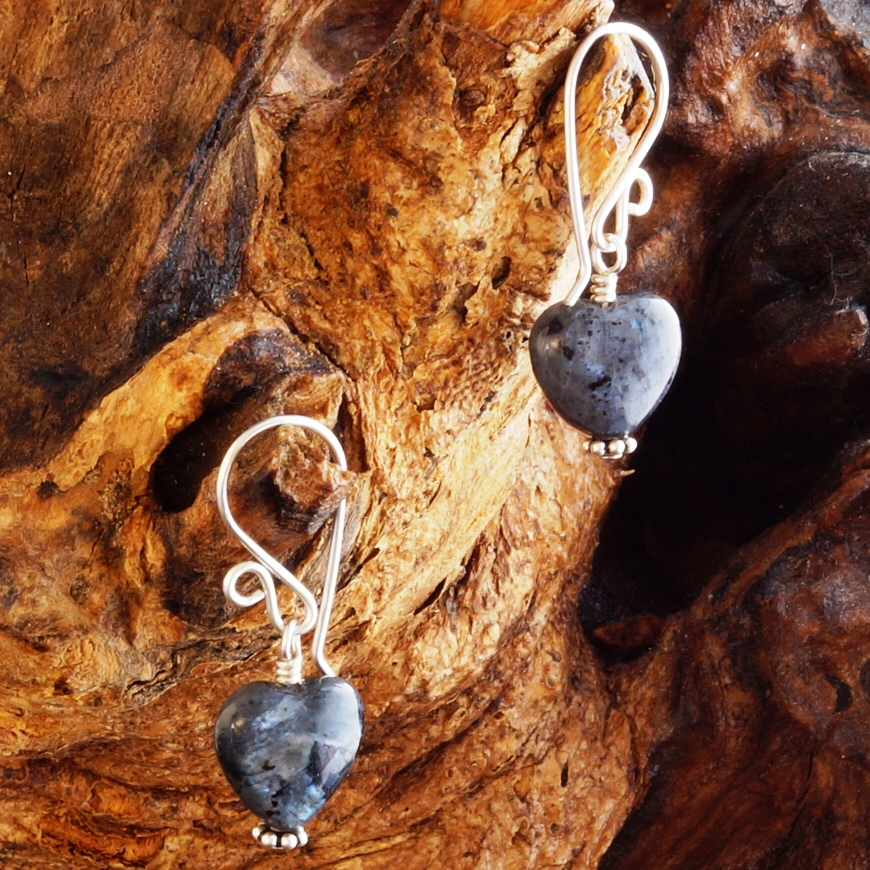 Handmade Sterling Silver Larvikite Earrings
