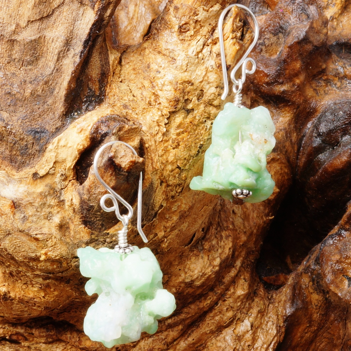 Handmade Sterling Silver Natural Chrysoprase Earrings 01