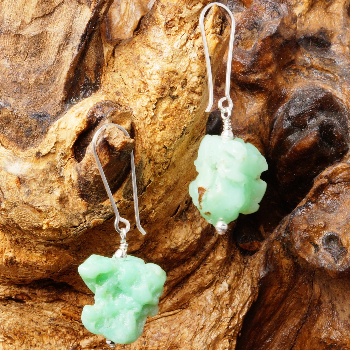 Handmade Sterling Silver Natural Chrysoprase Earrings 02