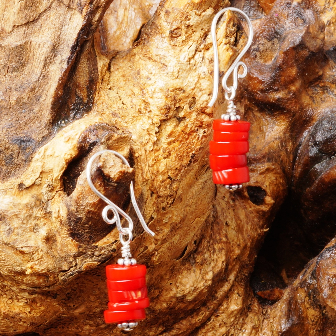 Handmade Sterling Silver Red Coral Earrings 01