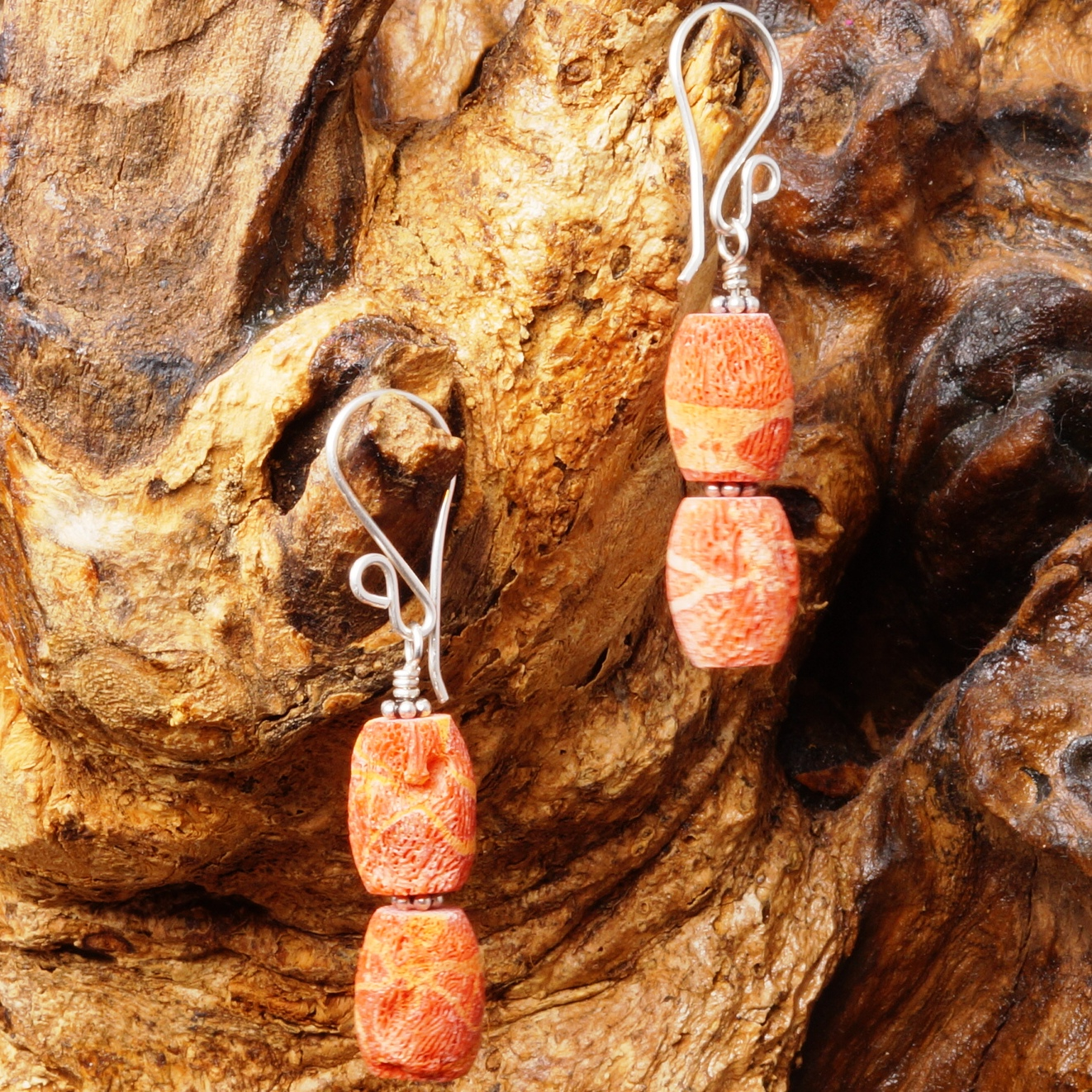 Handmade Sterling Silver Brushed Red Coral Earrings 04
