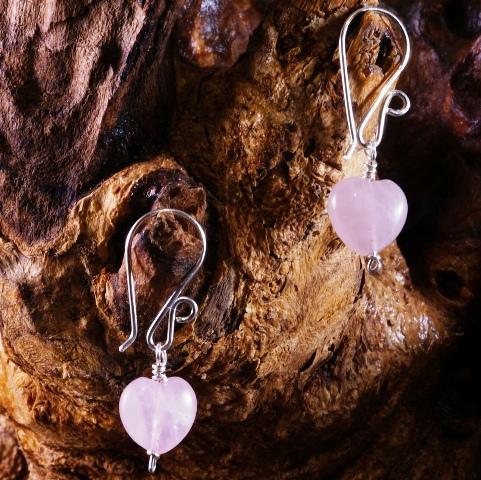 Handmade Sterling Silver Love Earrings Rose Quartz