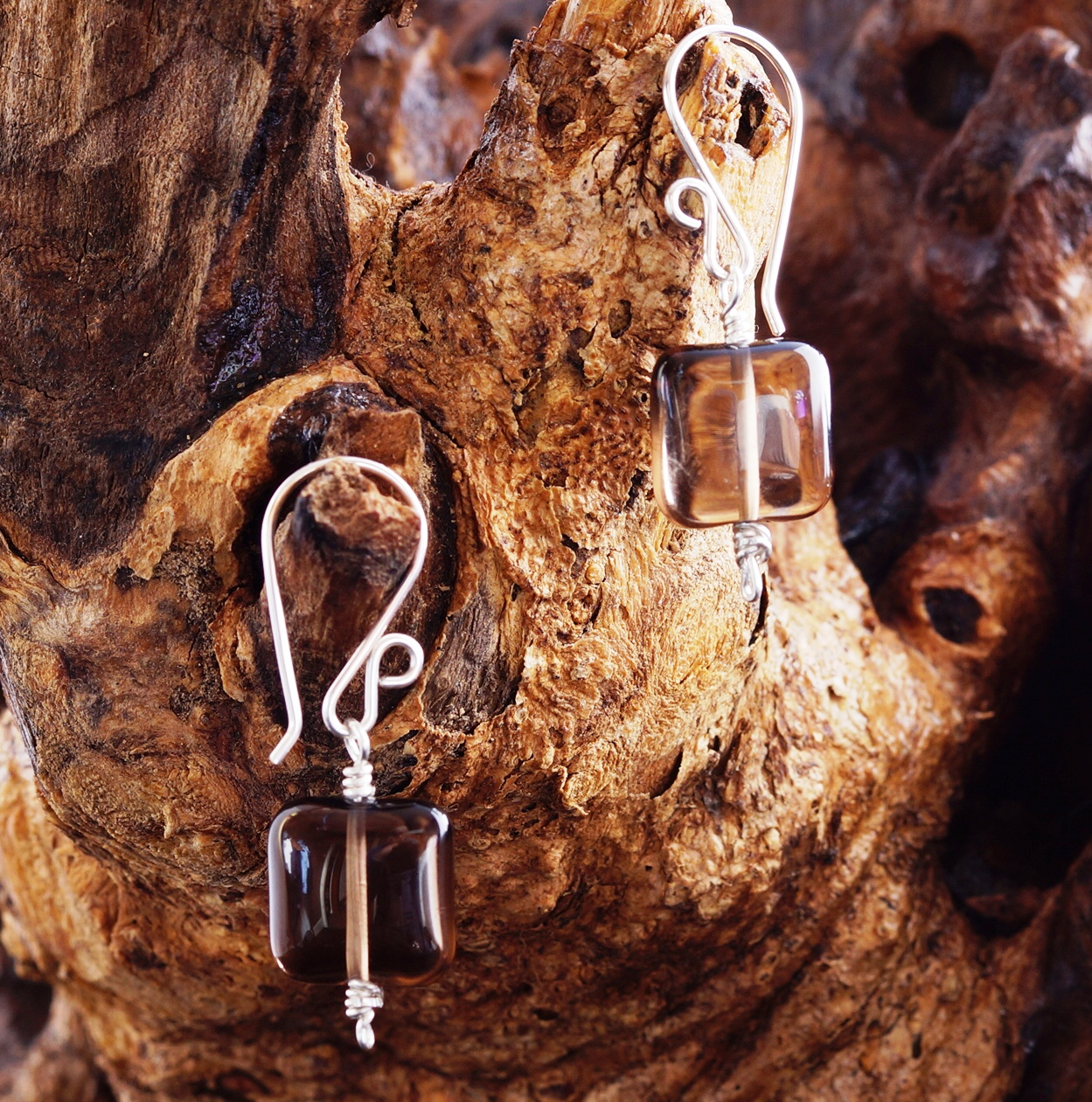 Handmade Sterling Silver Smokey Quartz Squares Earrings