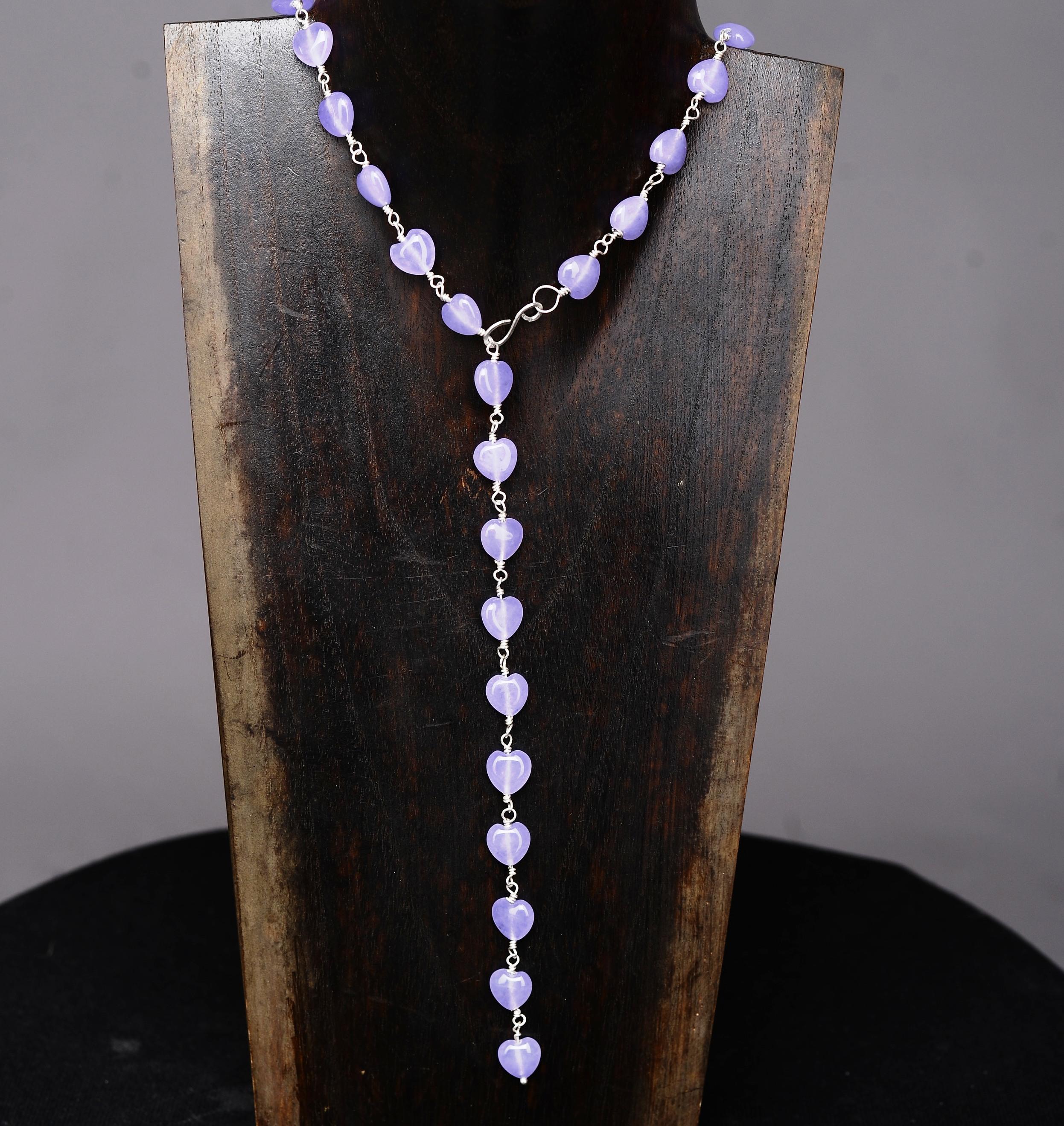 Handmade Sterling silver Jade Heart Lariat Necklace