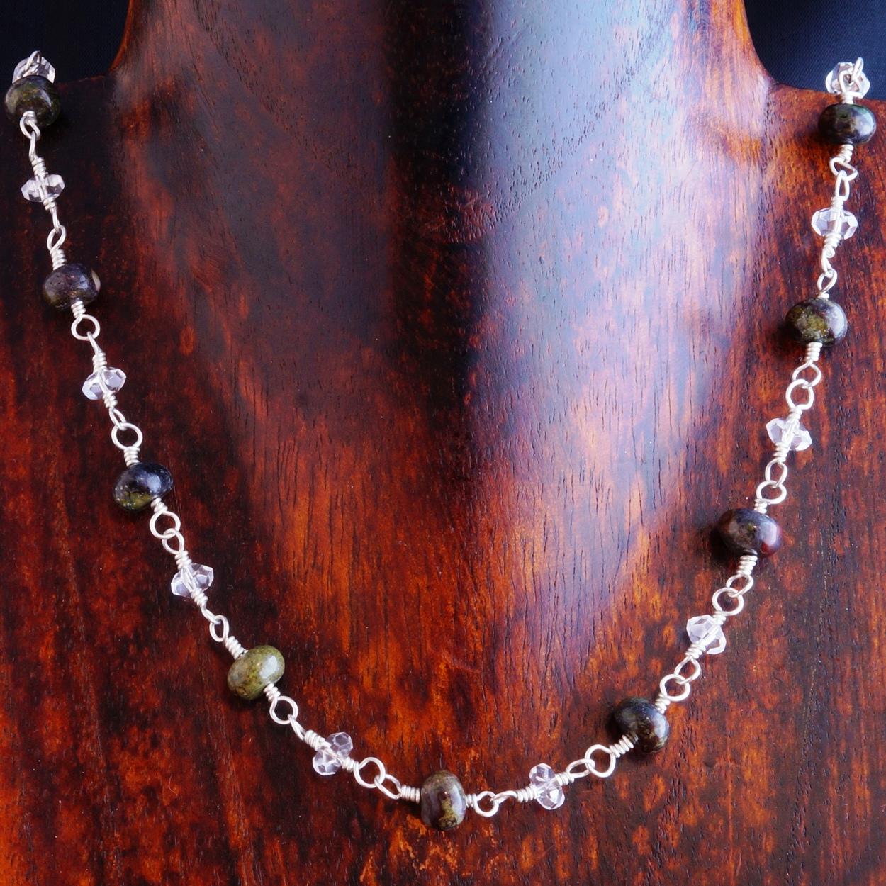 Handmade Sterling Silver Bloodstone Quartz Necklace