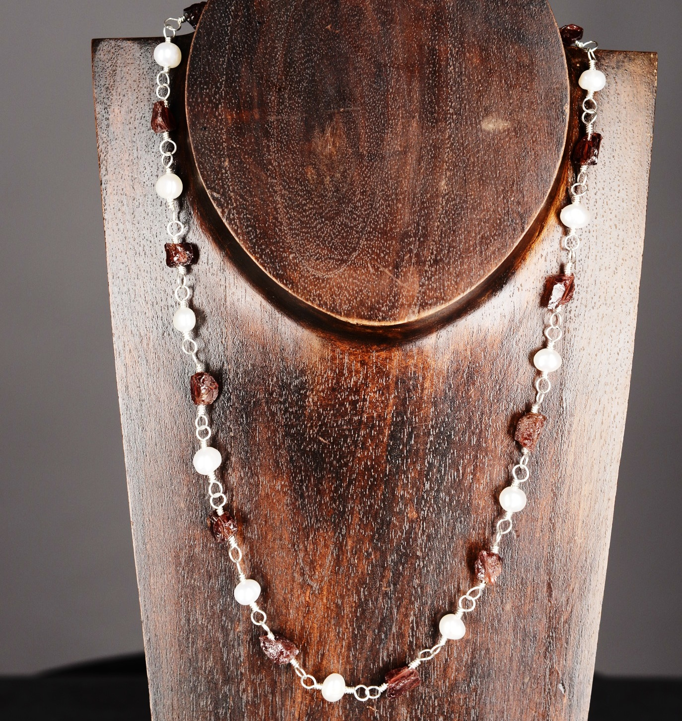 Handmade Sterling Silver Raw Garnet and Freshwater Pearl Necklace