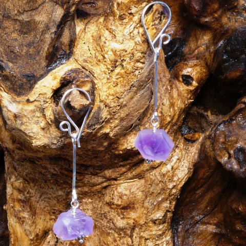 Handmade Sterling Silver Amethyst Points Earrings