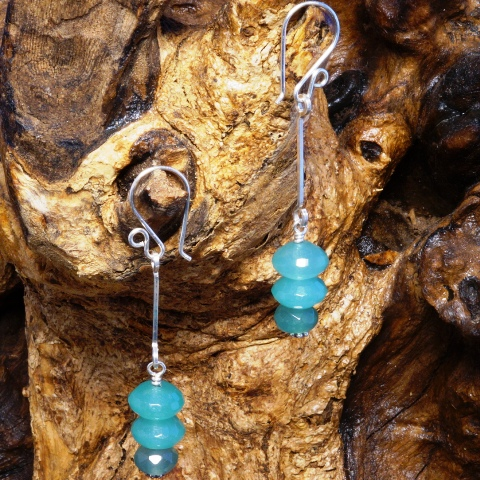 Handmade Sterling Silver Suspended Aventurine Earrings