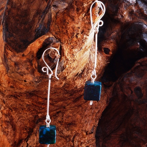 Handmade Sterling Silver Chrysocolla Suspended Earrings