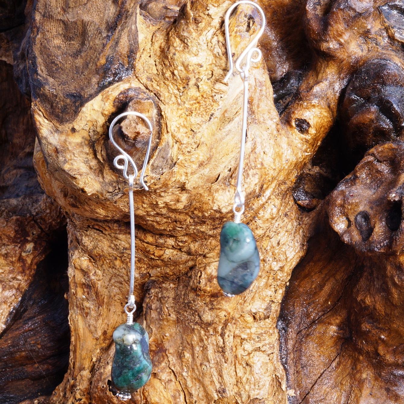Handmade Sterling Silver Long Natural Emerald Earrings