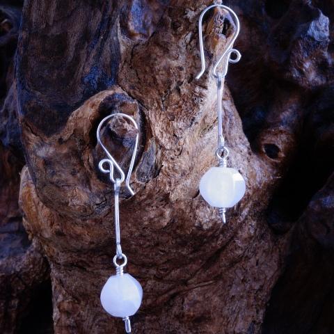 Handmade Sterling Silver Rose Quartz Earrings