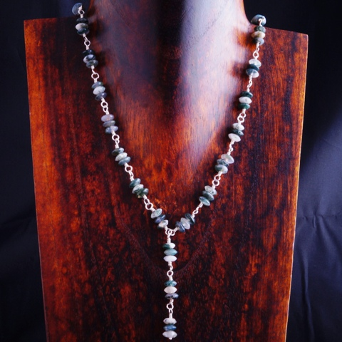Handmade Sterling Silver Moss Agate Y Necklace