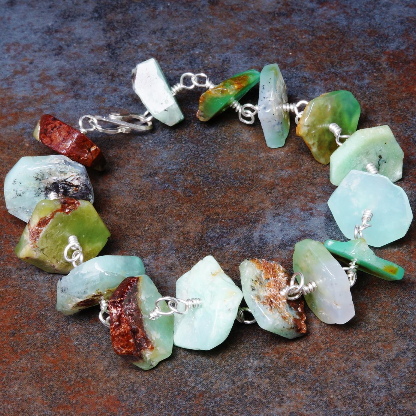 Handmade Sterling Silver Chrysoprase Bracelet