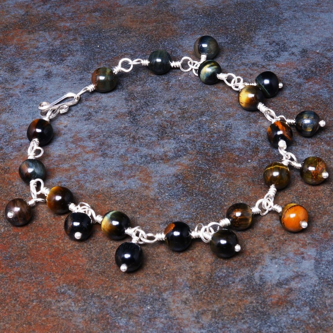 Handmade Sterling Silver Hawks Eye Charm Bracelet
