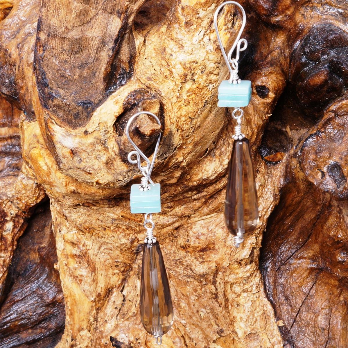 Amazonite Smokey Quartz Earrings