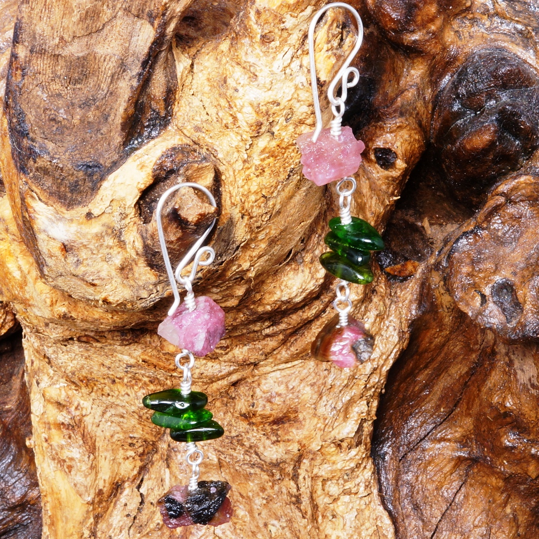 Handmade Sterling Silver Pink Tourmaline Chrome Diopside Earrings