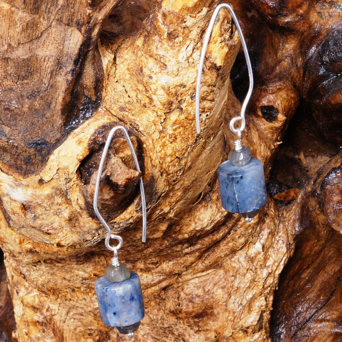 Handmade Sterling Silver Labradorite Dumortierite Earrings