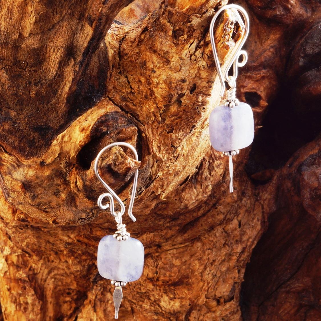 Handmade Sterling Silver Iolite Earrings