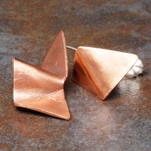 Geometric Asymmetric Concept Stud Copper 01 Full View