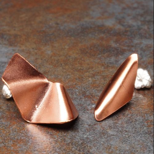 Geometric Asymmetric Concept Stud Copper 02 Full View