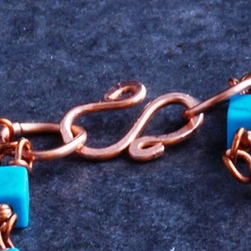 Copper 3 Strand Turquoise Bracelet 01 Clasp