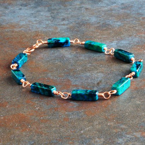 Copper Oblong Chrysocolla Bracelet 04 Full View