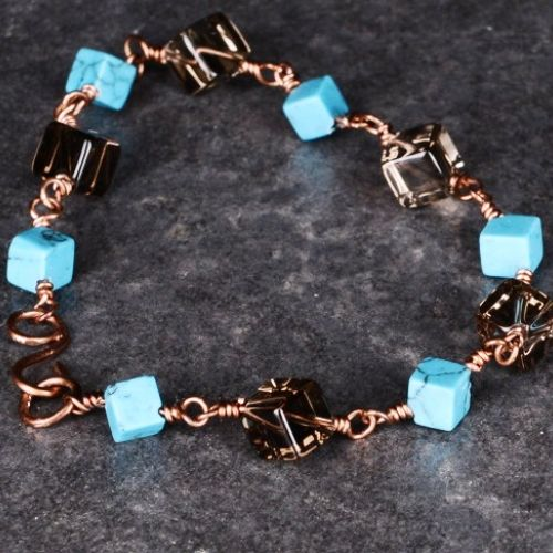 Copper Cubed Turquoise Smokey Quartz Bracelet 01 Full View