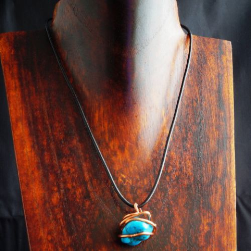 Copper Wire wrapped Turquoise Pendant 05