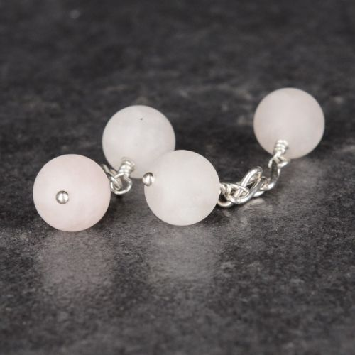 Frosted Rose Quartz Cufflinks 01