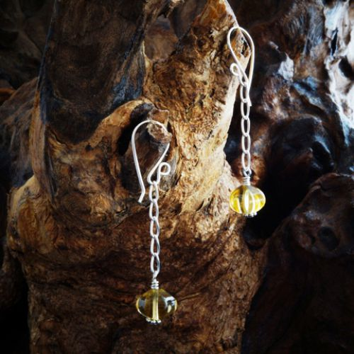 Chained Pumpkin Citrine Earrings 01