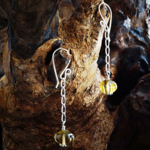 Chained Pumpkin Citrine Earrings 01 Full View