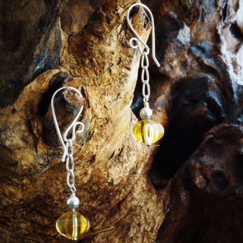 Chained Pumpkin Citrine Earrings 02 Full View