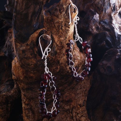 Crochet Garnet Hoop Earrings 01 Full View