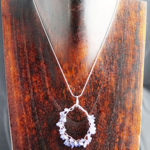 Crochet Tanzanite Pendant Full View