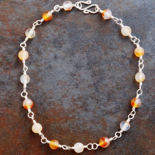 Sparkling Carnelian Anklet 01 Full View