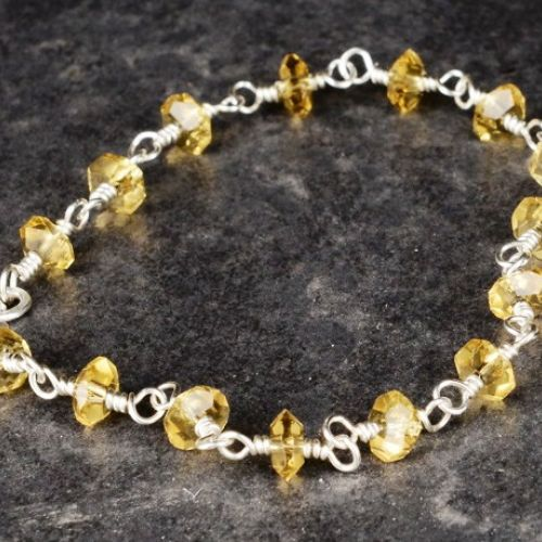 Faceted Citrine Anklet 01 Full View