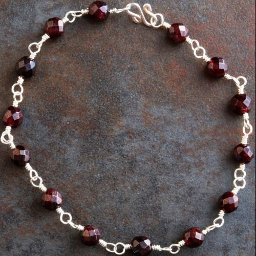 Garnet Anklet 01 Full View