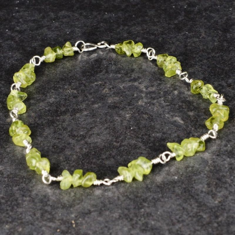 Peridot Chip Anklet Full View