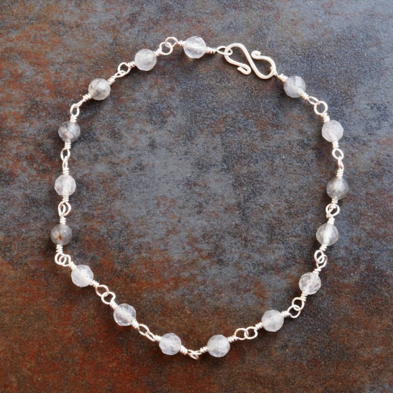 Silver Rutilated Quartz Anklet 01